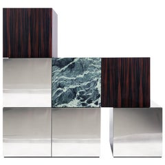 Contemporary Cabinet CUCU Polished Stainless Steel Ebony Verde Alpi Marble