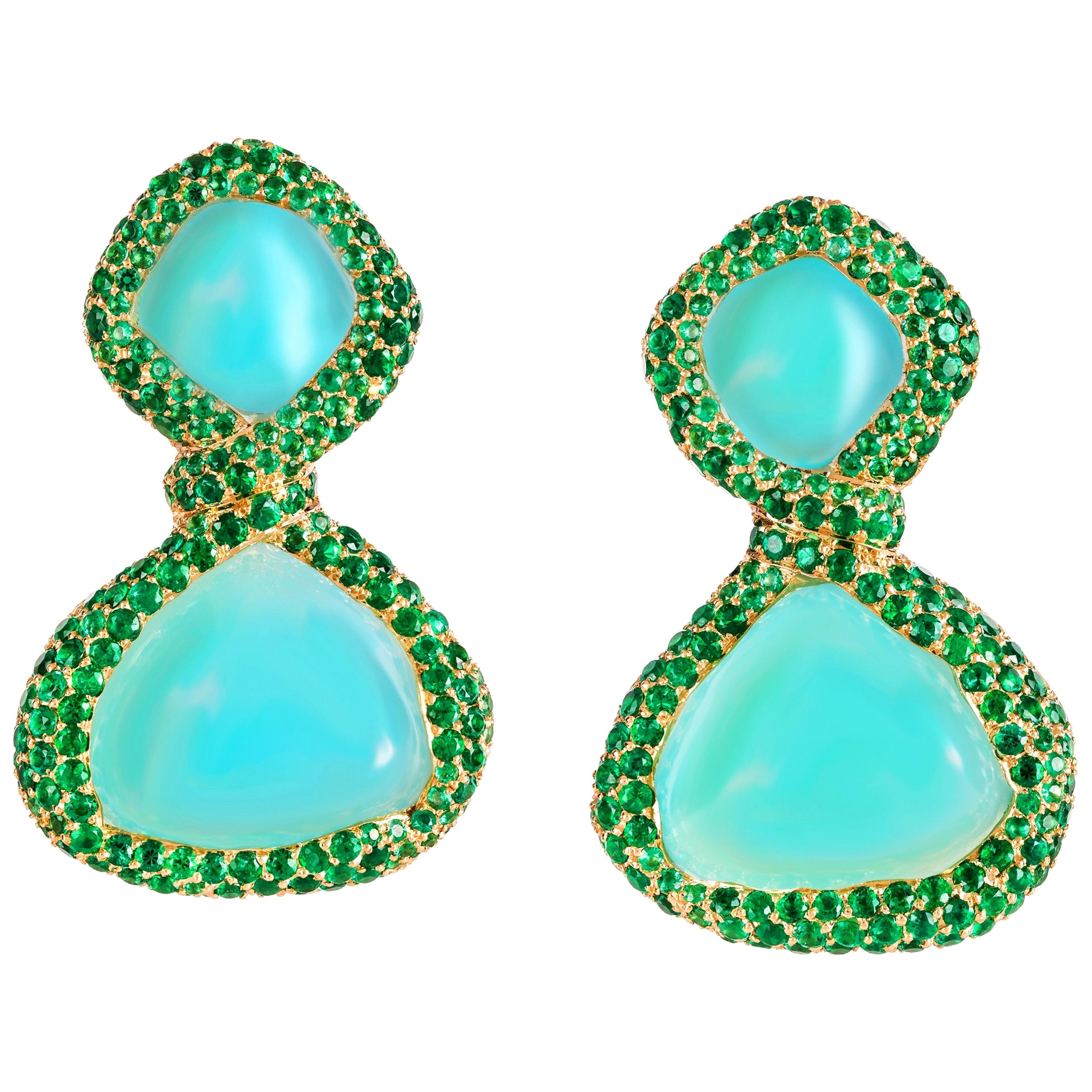 Rosior Chalcedony and Emerald one of a kind Drop Earrings