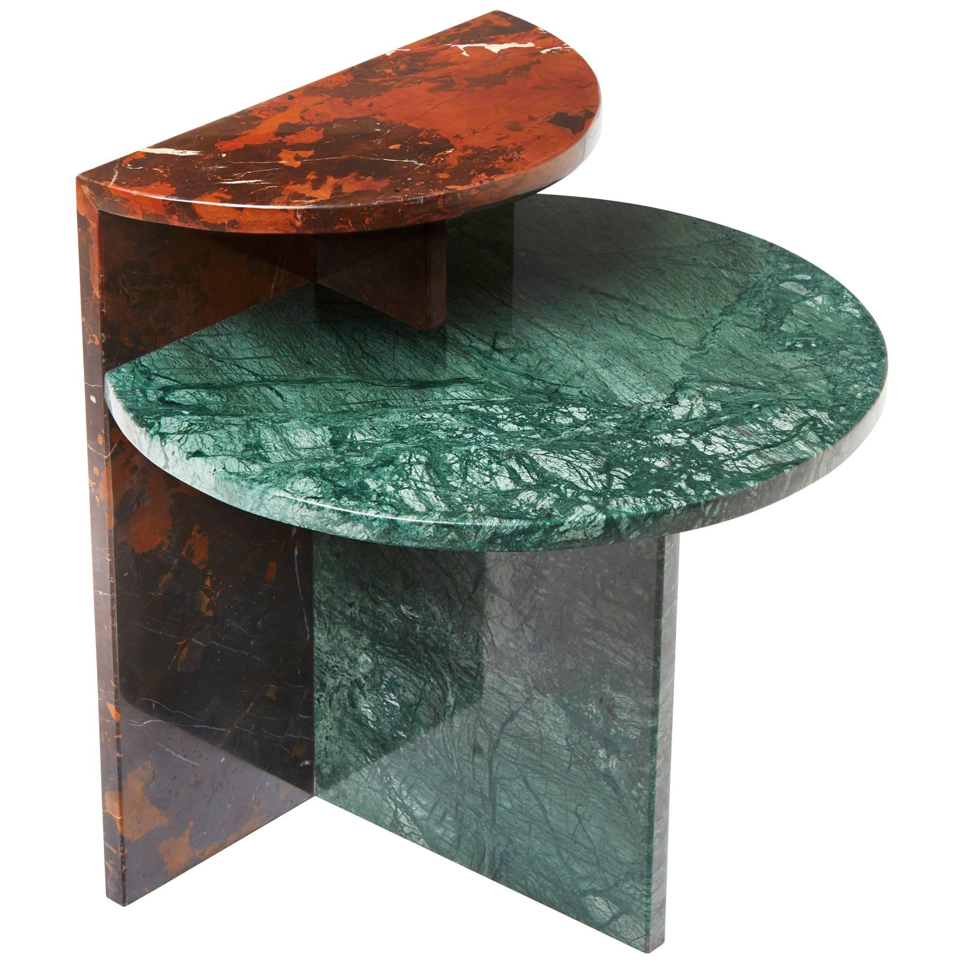 Contemporary Café Side Table in Marble, Handcrafted in Brazil