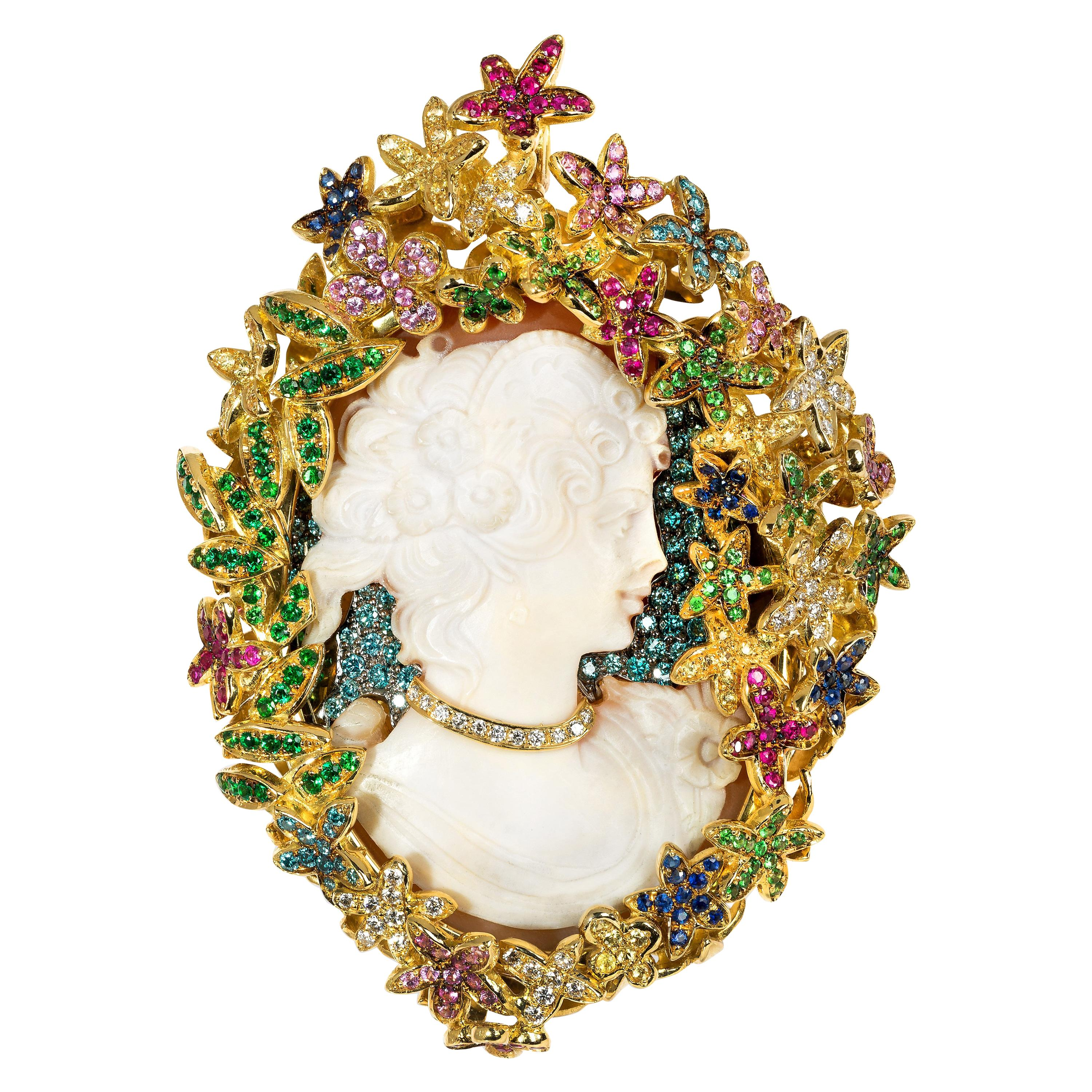 "Contemporary Color Diamond and Yellow Gold ""Cameo"" Brooch and Pendant Necklace"