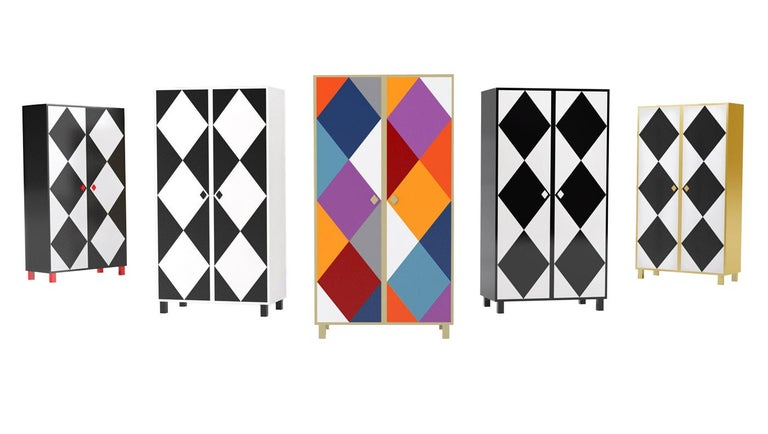 A multicolored rhombus cabinet to contain the most elegant clothes and accessories.  Pricing excludes VAT.