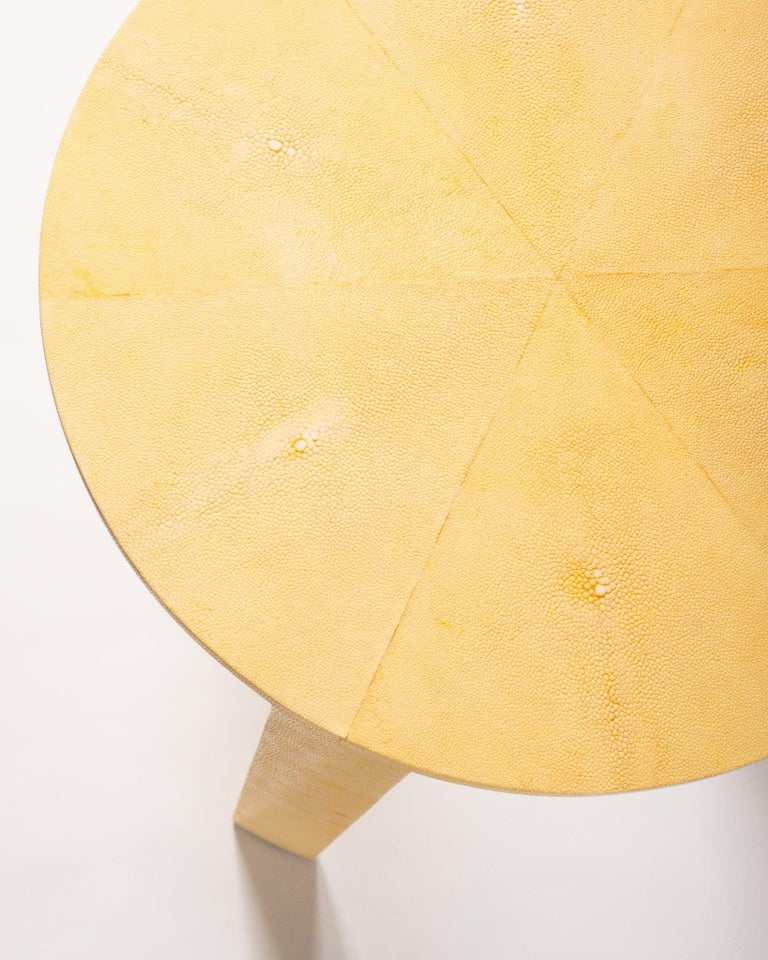 Philippine Contemporary Canary Yellow Authentic Shagreen Round Table For Sale
