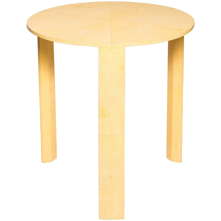 Contemporary Canary Yellow Authentic Shagreen Round Table For Sale