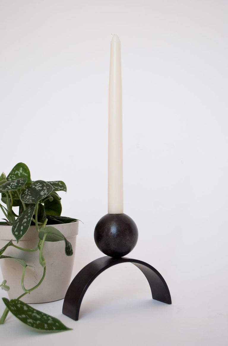 British Contemporary Candle holder Arch and Ball, Extra Large in Heavy Black Steel For Sale