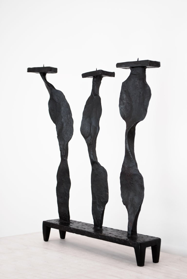 British Contemporary Candleholder Inspired by A. Giacometti For Sale