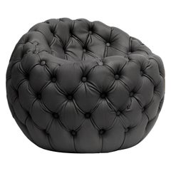 Contemporary Capitonè Pouf by Hessentia Upholstered with Leather, Black