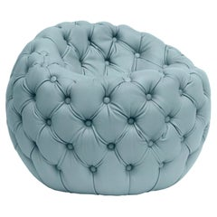 Contemporary Capitonè Pouf by Hessentia Upholstered with Light-Blue Leather