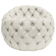 Contemporary Capitonè Pouf by Hessentia Upholstered with Off-White Leather