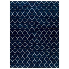 Contemporary Capri Blue Indian Dhurrie Handwoven Cotton Rug