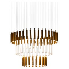 "Contemporary ""Cascade Rainy Day"" Chandelier in Handmade Limoges Porcelain"