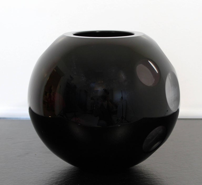 Italian Contemporary Cased Mazzega Murano Black Glass Vase Art Sculpture Polished Lenses For Sale