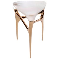 Contemporary Cast Bronze and Cast Glass Methodology Side Table
