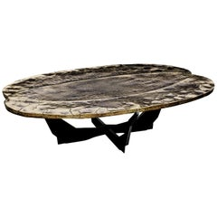 Contemporary Cast Bronze & Black Steel Coffee Table by Atelier Erwan Boulloud