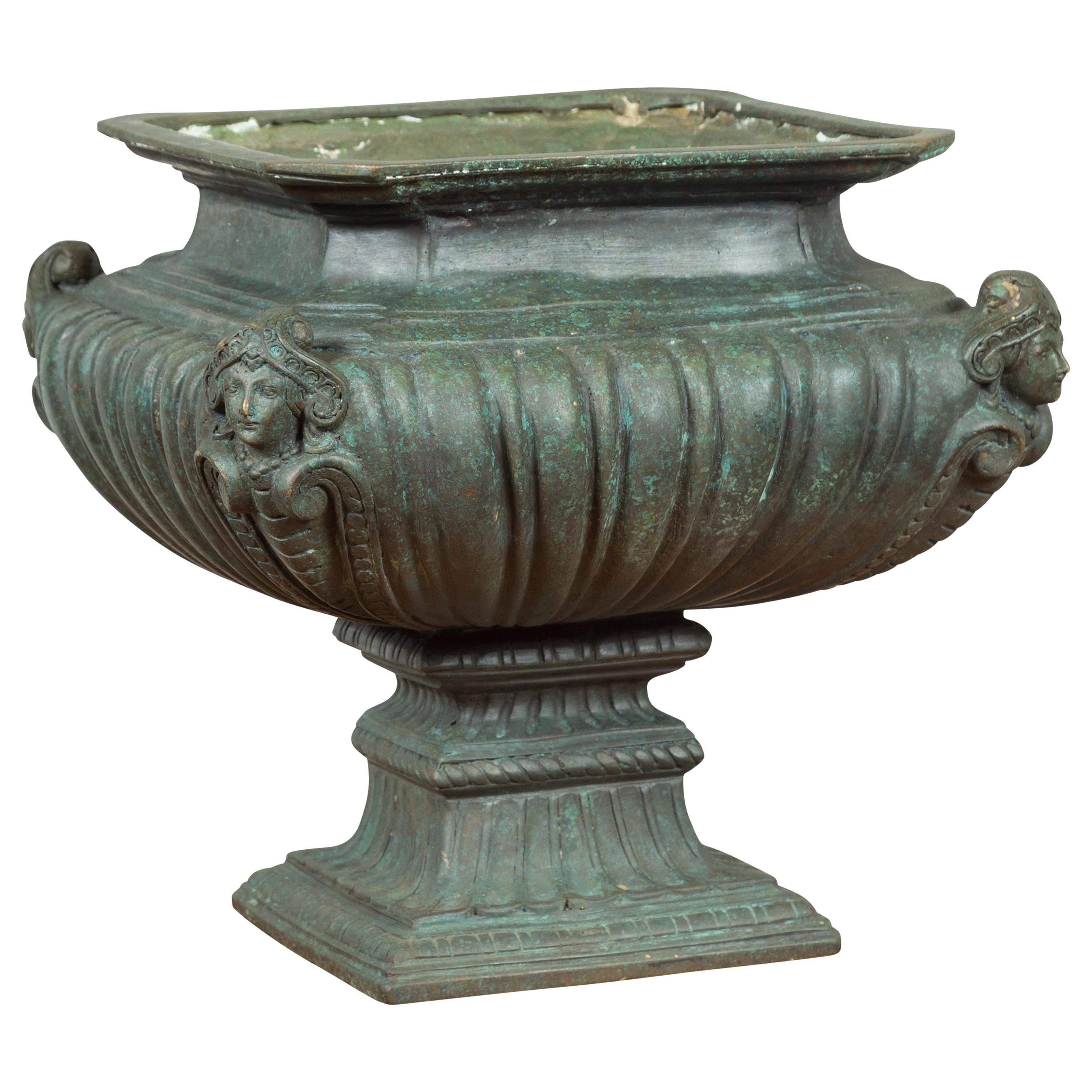 Contemporary Cast Bronze Planter with Figures, Gadroon Motifs and Verde Patina