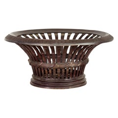 Contemporary Cast Bronze Venetian Style Bowl with Dark Patina and Reed Motifs