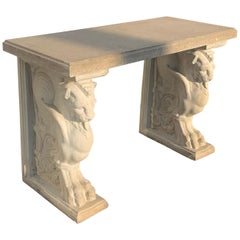 Contemporary Cast Stone Garden Table with Lion Base