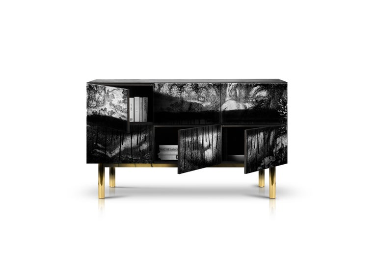 You can never have too many options when it comes to interior design. A unique combination of simplicity of shape mixed with hand-crafted materials! This sideboard features a hint of a girl which is digitally reproduced! The six-door design.