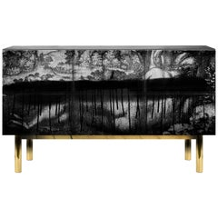 Contemporary Cause Sideboard in Black with Brass