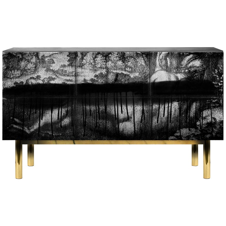Contemporary Cause Sideboard in Black with Brass For Sale