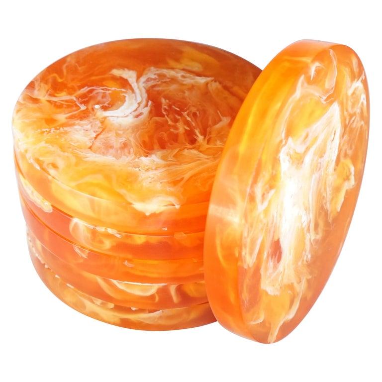Contemporary CDMX Design Set of 6 Orange and White Resin Coasters  For Sale