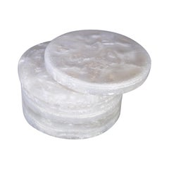 Contemporary CDMX Design Set of 6 White Pearlized Resin Coasters