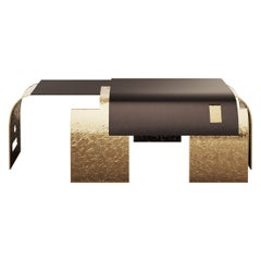 Contemporary Center Table in Black Iron and Legs in Hammered Aged Brass