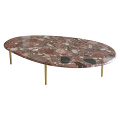 Contemporary Center Table in Cast Brass and Quartzito Crystal
