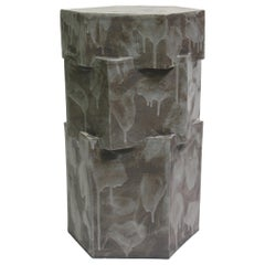 Contemporary Ceramic Acai Matte Hexagon Side Table