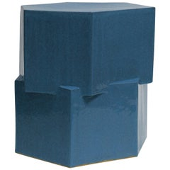 Contemporary Ceramic Almost Teal Hexagon Side Table