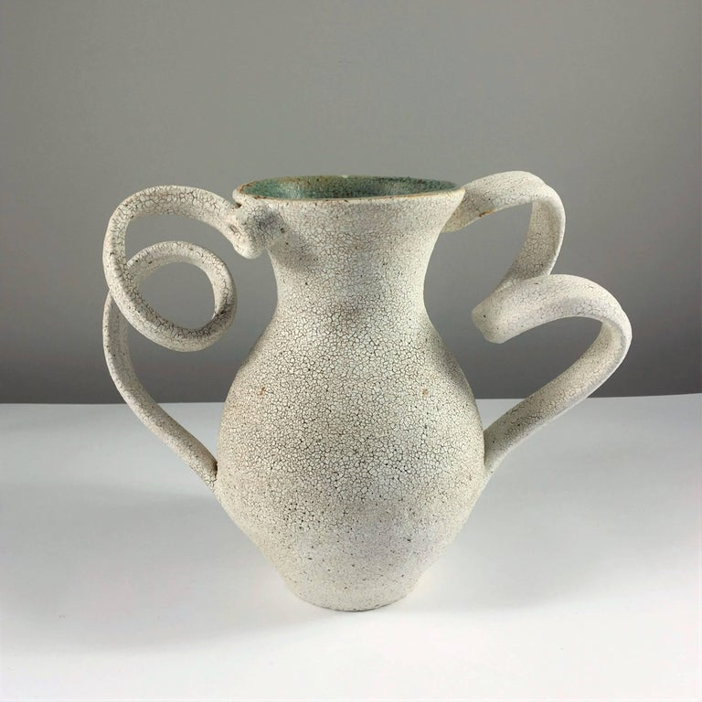Contemporary ceramic artist Yumiko Kuga's glazed stoneware amphora vase no. 152 is part of her Crackle series. All of the pieces in this series are hand-built and 100% handmade so they are one-of-a-kind and thus vary slightly from one another. All