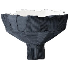 Contemporary Ceramic Anemone Footed Bowl Black and White Cartoccio Texture