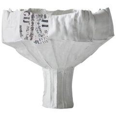 Contemporary Ceramic Anemone Footed Bowl Corteccia Texture Print Insert & White