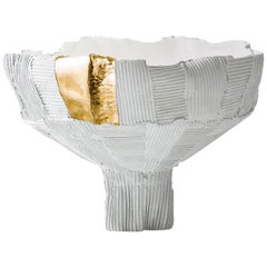 Contemporary Ceramic Anemone Footed Bowl White and Gold Insert