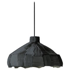 Contemporary Ceramic Anemone Lamp Black Cartoccio Texture