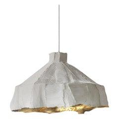 Zeitgenössische Keramik Anemone Lampe Cartoccio Textur innen weiß und Gold