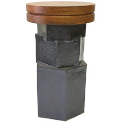 Contemporary Ceramic Black Hexagon Side Table with Teak Top