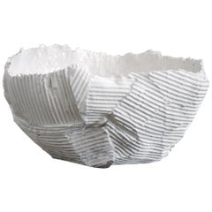 Contemporary Ceramic Cartocci Texture Print White Bowl