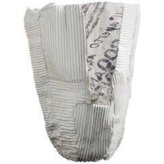 Contemporary Ceramic Cartocci Texture Print White Tall Vase