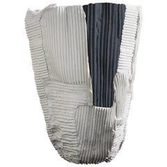 Contemporary Ceramic Cartocci Texture White and Black Tall Vase