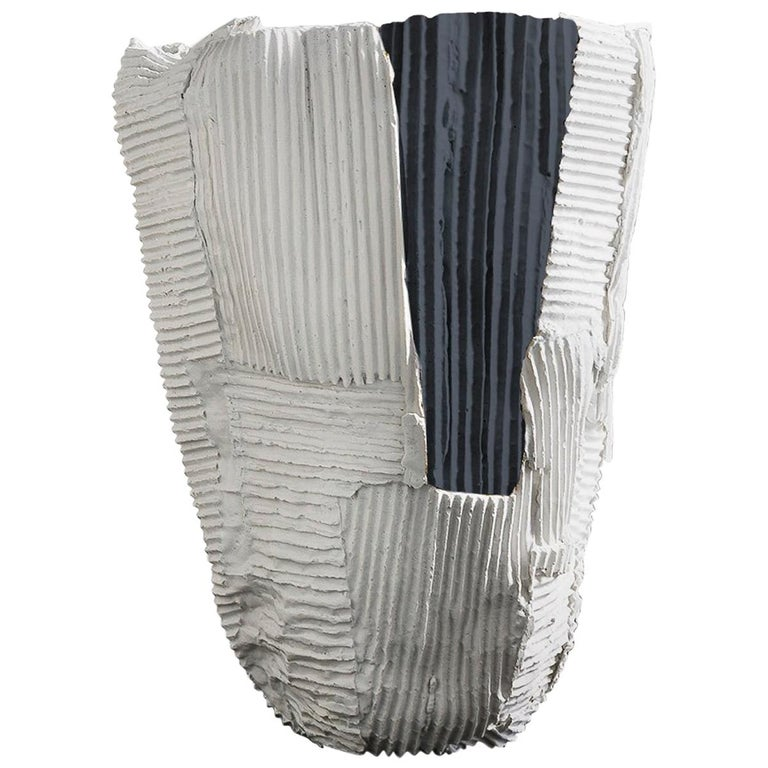 Contemporary Ceramic Cartocci Texture White And Black Tall Vase For