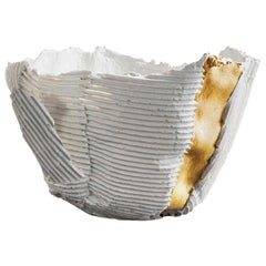 Contemporary Ceramic Cartocci Texture White and Gold Bowl #1