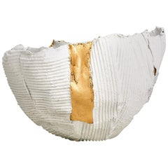 Contemporary Ceramic Cartocci Texture White and Gold Bowl #2