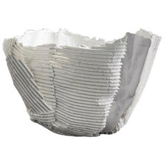 Contemporary Ceramic Cartocci Texture White and Gray Bowl