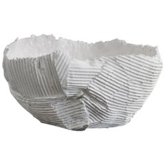 Contemporary Ceramic Cartocci Texture White Low Bowl