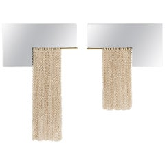 Contemporary Ceramic Chainmail L-Mirror Set in Ivory