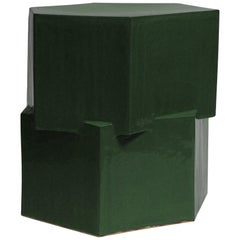 Contemporary Ceramic Chrome Green Hexagon Side Table