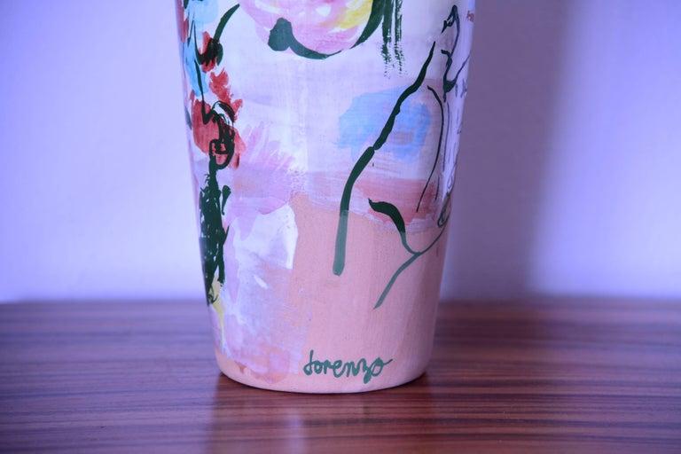 Modern Contemporary Ceramic Colorful Vase Majolica Pottery Handmade For Sale