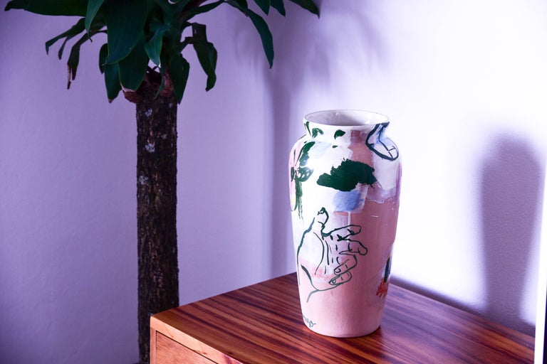 Mexican Contemporary Ceramic Colorful Vase Majolica Pottery Handmade For Sale