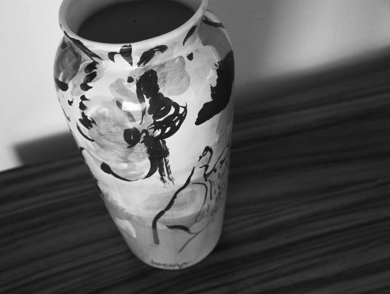 Enameled Contemporary Ceramic Colorful Vase Majolica Pottery Handmade For Sale