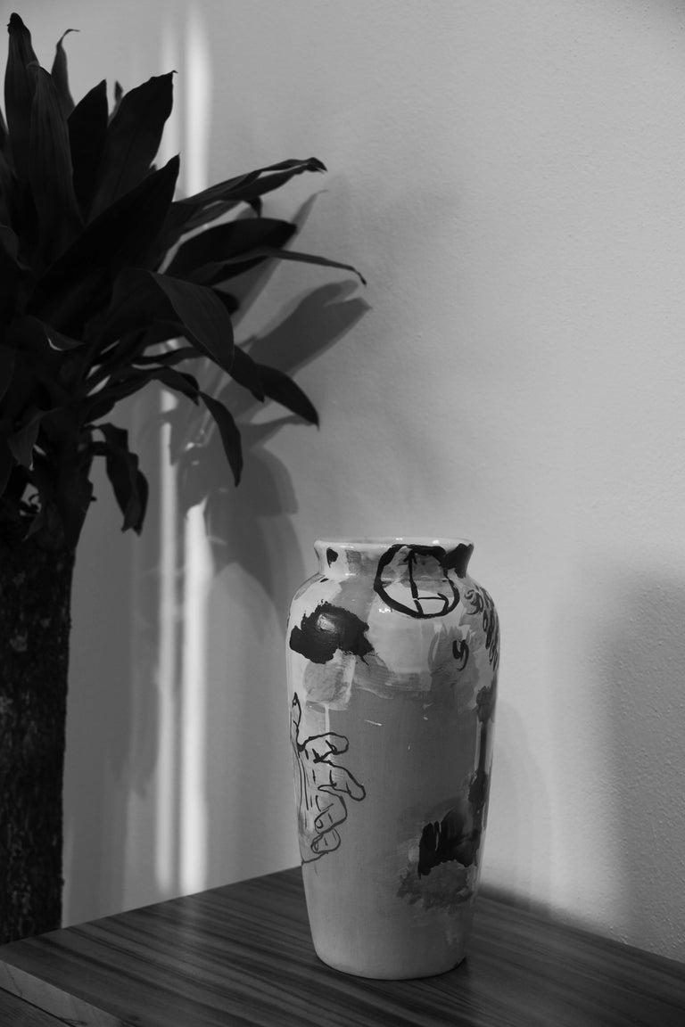 Contemporary Ceramic Colorful Vase Majolica Pottery Handmade For Sale 2